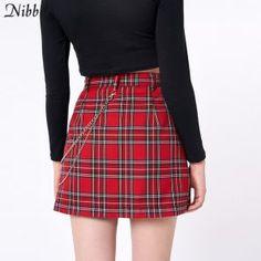 red tartan with chain mini skirt – Lupsona Club Fashion, Moda Fashion, Women's Summer Fashion, Plaid Mini Skirt, Mini Skirts, Pleated Skirts, High Street Dresses, Streetwear, Plaid Fashion