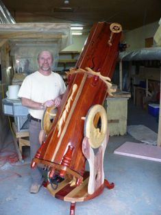 NORMAND FULLUM with one of his beautiful wooden Dobsonian Telescopes. - #Dobsonian #Telescopes