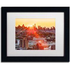 Trademark Fine Art Midtown Sunset Canvas Art by David Ayash, White Matte, Black Frame, Size: 16 x 20