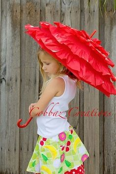 Red Frilly Nylon Umbrella: For Summer, Winter or Photography Props / Cobbaz Creations