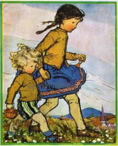 To Market From Mother Goose 1919. Looks like Blueberry and Buttercup! Love.