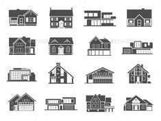 House Icons Set - Buildings Objects