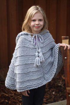Free Knit Poncho Pattern, Poncho Knitting Patterns, Cardigan Pattern, Knitted Poncho, Free Knitting, Free Pattern, Baby Poncho, Hooded Poncho, Baby Cardigan