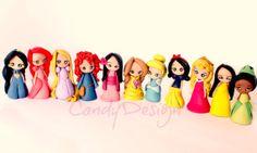Disney Princess, Cake Toppers, Disney Princesses Figurines, Handmade,Kawaii Polymer Clay on Etsy, £15.24