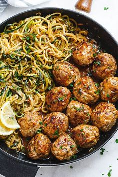 Garlic Butter Meatballs with Lemon Zucchini Noodles - This easy and nourishing skillet meal is absolutely fabulous in every way imaginable!