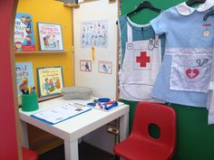 Doctors surgery role play Doctor Role Play, Playing Doctor, Nursery Activities, Preschool Activities, Dr Surgery, Human Body Lesson, Maths Display, Human Body Activities, People Who Help Us