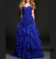 Prom dresses long, ball gown, 2016 elegant layered navy blue chiffon prom dress #coniefox #2016prom