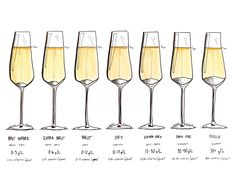 Champagne Sweetness Levels Illustrated by Wine Folly Vintage Champagne, Champagne Taste, Champagne Bottles, Calories In Champagne, Sweet Champagne Brands, Champagne Glasses, Wine Folly, Gourmet, Alcohol