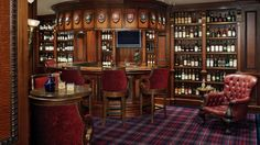 The garage bar. Or the ultimate Man Cave. This guy's a real Scotch man. His collection features 5500 bottles of Scotch Whiskey on display. You can see the rest of the place at the site and read how the owner brought it to life.
