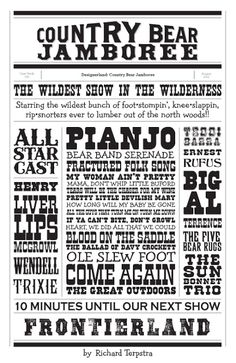 Country Bear Jamboree Typography by Richard Terpstra. Would be sooo cute as background paper in a scrapbook!