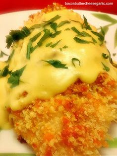 Panko Cheddar crusted Chicken with a Creamy Honey Mustard Sauce- Crunchy on the outside, super moist on the inside!