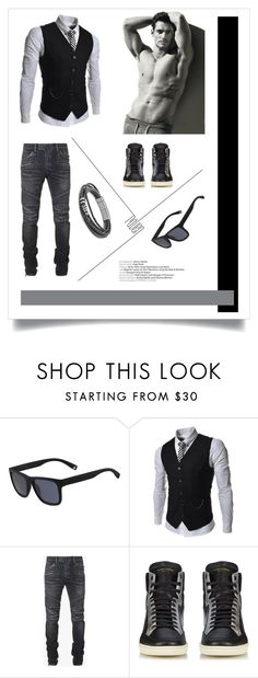 """""""Man's Look"""" by freida-adams ❤ liked on Polyvore featuring Lacoste, TheLees, Balmain, Yves Saint Laurent, men's fashion and menswear"""