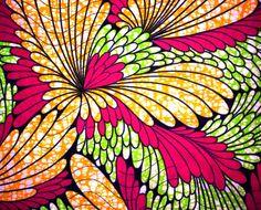 African Fabric 1/2 Yard Cotton Wax Print GREEN ORANGE FUSCHIA Abstract
