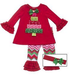 766ba67075a Rare Editions Girl s Christmas Tree Outfit Baby Girl Christmas