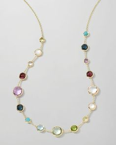 "18k Gold Lollitini Multi-Stone Necklace, 18""L by Ippolita at Neiman Marcus."