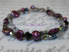 www.belhavenstudios.com dyed cranberry freshwater pearls  Swarovski crystals Vitral Czech glass Balinese oxidized sterling silver bracelet