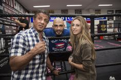 Sylvester Stallone and daughter visit Miguel Cotto during camp at the Wild Card Gym.