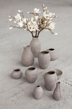 Re-used and natural. These paper pulp vases are by Debbie Wijskamp for Serax.