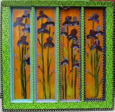 New to SissysFolkArt on Etsy: Admiral& Irises An Illumination 28 x 27 USD) Call Forwarding, Glass Building, Medieval Manuscript, My Glass, Irises, Three Dimensional, Bloom, Canvas, Create