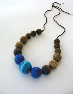 Heathered colourful necklace of crocheted balls por DreamList, $40.00
