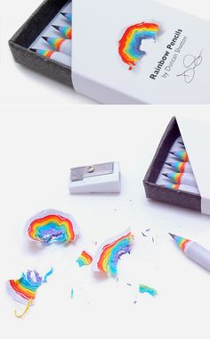 Cool Rainbow Pencils---Creative pencils designed by Duncan Shotton leave behind wonderful paper rainbows when you sharpen them.