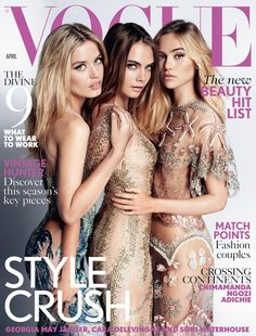 Cara Delevingne & Suki Waterhouse Cover 'Vogue UK' with Georgia May Jagger!: Photo Cara Delevingne is sandwiched in between fellow models Suki Waterhouse and Georgia May Jagger on the cover of British Vogue's April 2015 issue. The ladies were… Vogue Covers, Vogue Magazine Covers, Fashion Magazine Cover, Fashion Cover, Georgia May Jagger, Mario Testino, Vogue Uk, Cara Delevingne, Major Models