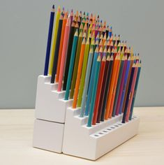 For bookmark display, one either straight up or pitched backwards Colored Pencil Storage, Colored Pencils, Marker Storage, Craft Storage, Art Supplies Storage, Studio Organization, Arts And Crafts, Diy, 3d Printing
