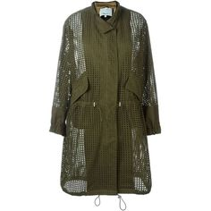 3.1 Phillip Lim Perforated Trench Coat ($1,164) ❤ liked on Polyvore featuring outerwear, coats, green, brown coat, 3.1 phillip lim, trench coat, long sleeve coat and green trench coat