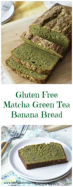 Grab ripe bananas and get ready to make this delicious gluten free matcha green tea banana bread recipe. How to cook with matcha. via Fearless Dining Easy Gluten Free Recipes Dessert Sans Gluten, Gluten Free Desserts, Gluten Free Recipes, Baking Recipes, Dessert Recipes, Snacks Recipes, Bread Recipes, Green Tea Recipes, Matcha Green Tea