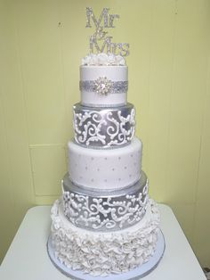 369 best Silver Cakes images on Pinterest   Amazing cakes  Yummy     Silver wedding cake created by The Cake Lady Fort Pierce  FL