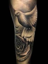 Realistic Bird Tattoo Men Ideas For 2019 Dove And Rose Tattoo, White Dove Tattoos, Rose Tattoos, Leg Tattoos, Black Tattoos, Body Art Tattoos, Sleeve Tattoos, Celtic Tattoos, Tatoos