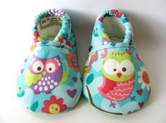 Blue, Green, Pink, and Purple Owl Baby shoes, baby girl shoes, owl baby girl booties on Etsy, $18.00