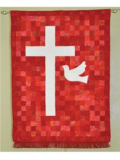 Celebrate a confirmation with this simple yet stunning banner.   The assorted red batiks in this design signify the colors of confirmation: The white cross represents purity, and the dove represents the Holy Spirit. The colors can be easily changed t...