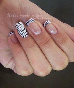 Zebra Nails very cute Zebra Nails, Exotic Nails, Funky Nails, French Tip Nails, Get Nails, Gel Nail Art, Creative Nails, Nail Stamping, Finger