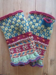 Fingerless gloves knit with lace cuff, twined detail, colorful