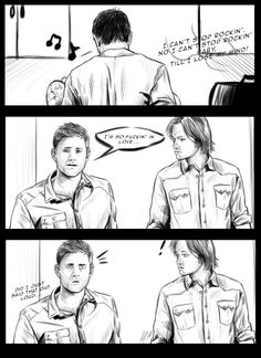 Here is a comic that has been nagging my head for a few days so I let it out. Dean would totally out himself on accident. Headcanon accepted.  Listen to the song playing in this comic , It's such a classic and so awesome to dance on ! :http://www.youtube.com/watch?v=cDTJGvixgF0