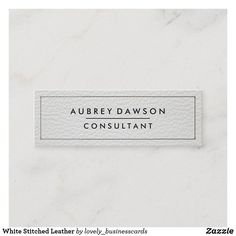White Stitched Leather Mini Business Card