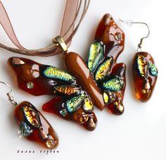 авторская работа, handmade, glass, стекло, фьюзинг, бижутерия, украшения, кулон, бабочка, Лилия Горбач