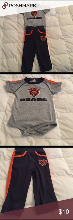 Chicago Bears outfit- 6-9 months Super cute Chicago Bears onesie and sweatpants set. Great outfit for you baby Bears fan!! Excellent condition. worn maybe twice. Smoke free home NFL Team Apparel  Matching Sets