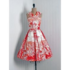 1950's Clothes / 1950's Hawaiian Tropical Print Sun Dress via Polyvore