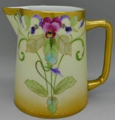 PICKARD LIMOGES ART NOUVEAU FRENCH c.1906 GIBSON PITCHER GOLD PAINTED