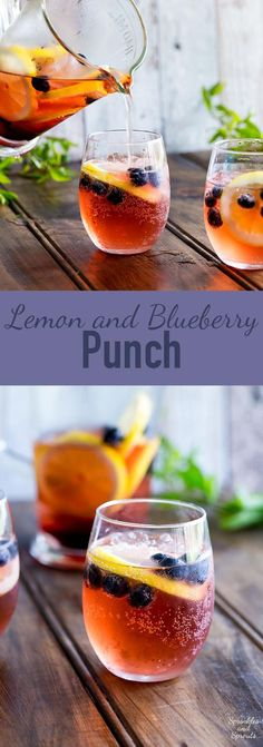 This Lemon and Blueberry Punch, is fruity and refreshing, but it delivers a great kick. Perfect for relaxing with friends, or for serving at a larger party! www.sprinklesands...