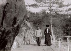 Tsar Nicholas II and his wife Alexandra walking along the Tsar's Trail during one of their visits to Livadia