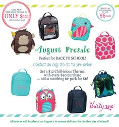 Contact me before Aug 1st so we can ensure delivery before school starts.