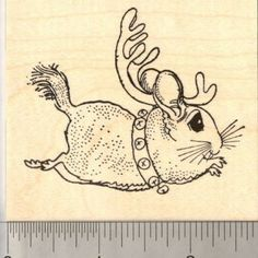 Chinchilla Christmas Reindeer Rubber Stamp - oh hell ya! Expect this on all my xmas cards!