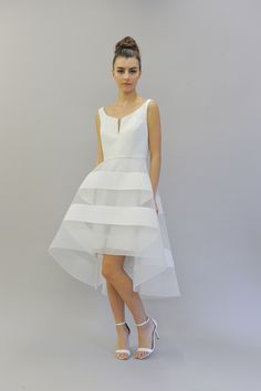 Scarlett by Austin Scarlett Bridal Fall 2017 Collette wedding dress in faille notched boat neck with full high low skirt in soft white Size 12 Wedding Dress, Wedding Dress Trends, Wedding Gowns, Wedding Gate, Wedding Pics, Going Away Dress, Austin Scarlett, Boho Wedding Dress Bohemian, Wedding Silhouette