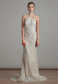 Tulle over chantilly halter wedding dress | Liancarlo 6896 | http://trib.al/uR7ERsz