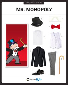 Get in costume as the iconic character known for his appearance in the popular Parker Brothers board game, Monopoly. Monopoly Themed Parties, Monopoly Party, Theme Parties, Game Costumes, Cool Costumes, Work Group Halloween Costumes, Family Halloween, Halloween Outfits, Halloween Ideas