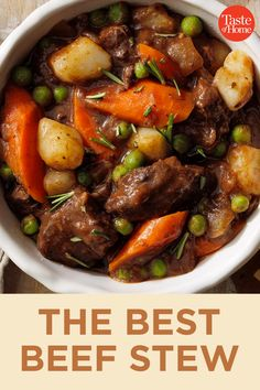 Our best beef stew recipe has tons of flavor, thanks to its blend of herbs and the addition of red wine and balsamic vinegar. Learn how to make this comforting classic and take it to the next level. —James Schend, Taste of Home Deputy Editor Best Beef Stew Recipe, Easy Beef Stew, Stew Meat Recipes, Beef Stew Meat, Slow Cooker Beef, Cooking Recipes, Slowcooker Beef Stew, Stewing Beef Recipes, Beef Stew Stove Top