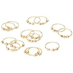 Charlotte Russe Beaded Rings & Midi Rings Set ($6) ❤ liked on Polyvore featuring jewelry, rings, gold, set jewelry, beading rings, charlotte russe rings, bead jewellery and mid finger rings